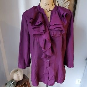 Limited purple button down blouse with ruffles